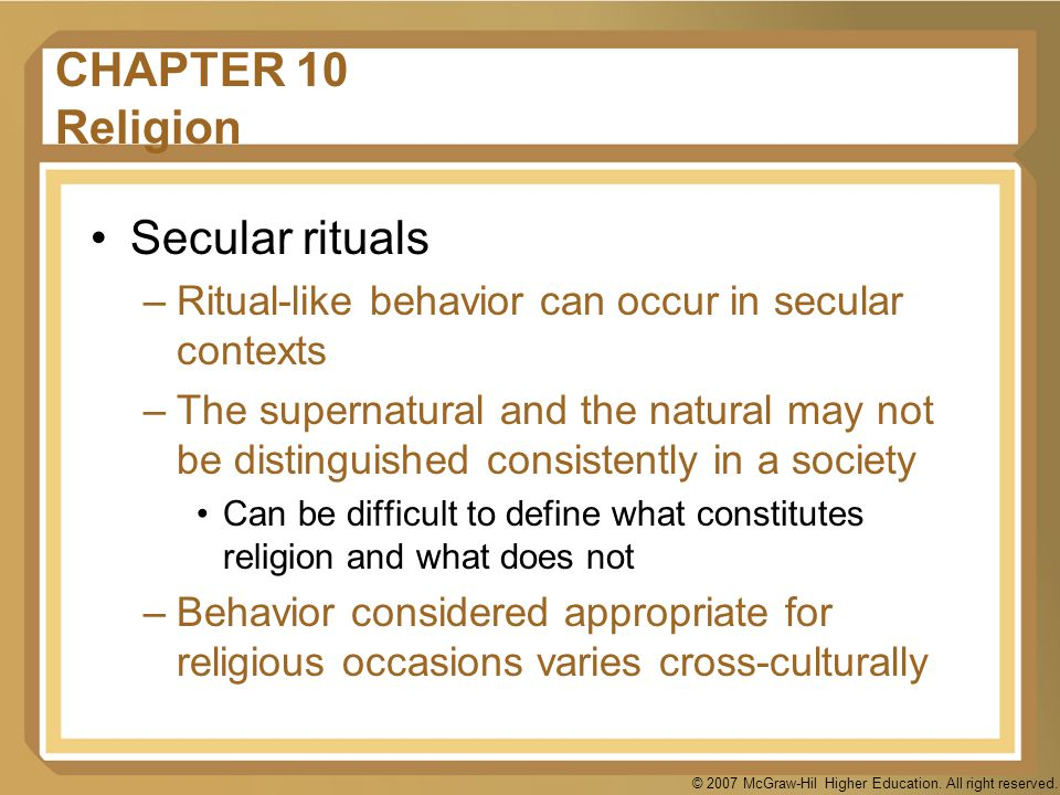 CHAPTER 10 Religion Secular rituals