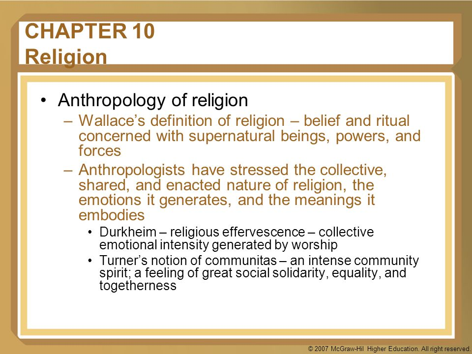 CHAPTER 10 Religion Anthropology of religion