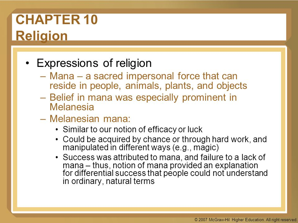 CHAPTER 10 Religion Expressions of religion