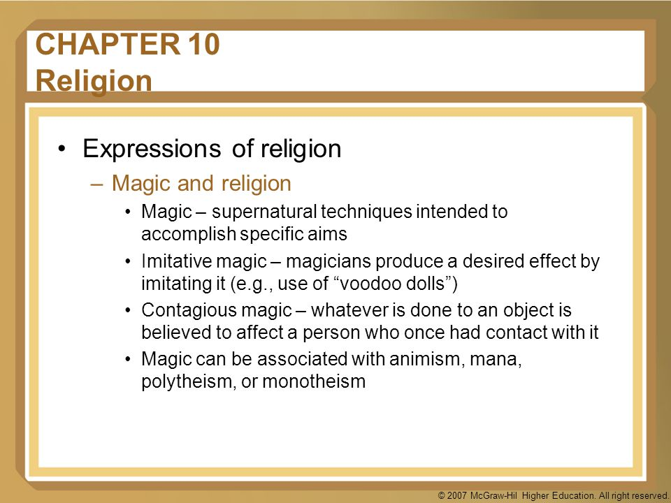 CHAPTER 10 Religion Expressions of religion Magic and religion