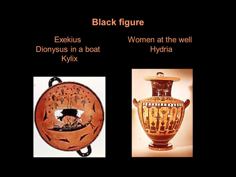 Black figure Exekius Dionysus in a boat Kylix Women at the well Hydria