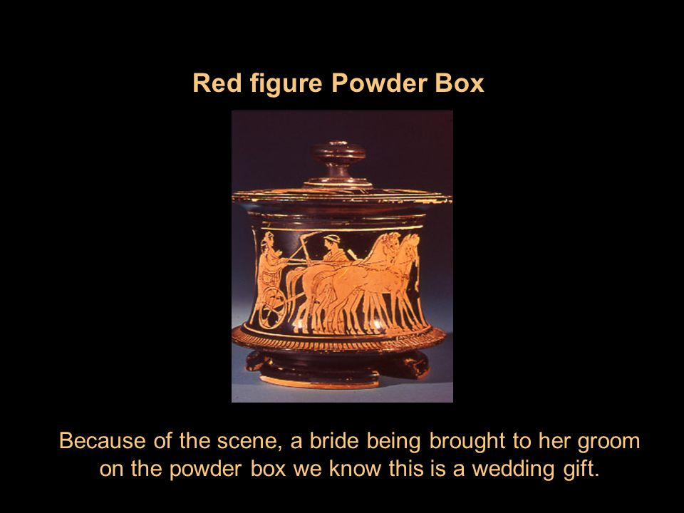 Red figure Powder Box Because of the scene, a bride being brought to her groom.