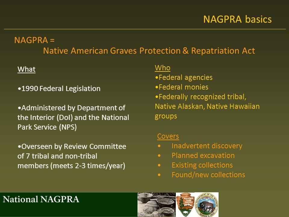 NAGPRA basics NAGPRA = Native American Graves Protection & Repatriation Act. What. 1990 Federal Legislation.