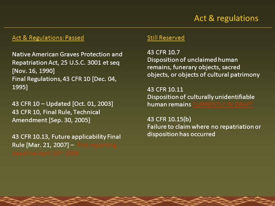 Act & regulations Act & Regulations: Passed Still Reserved
