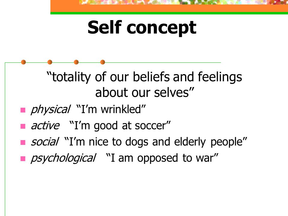 totality of our beliefs and feelings about our selves