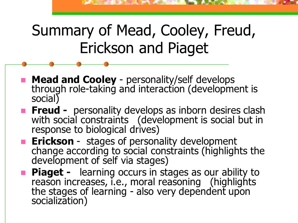 Summary of Mead, Cooley, Freud, Erickson and Piaget