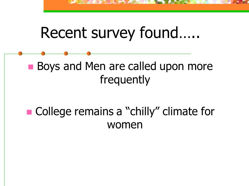 Recent survey found….. Boys and Men are called upon more frequently