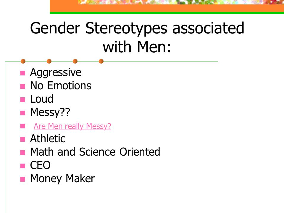 Gender Stereotypes associated with Men:
