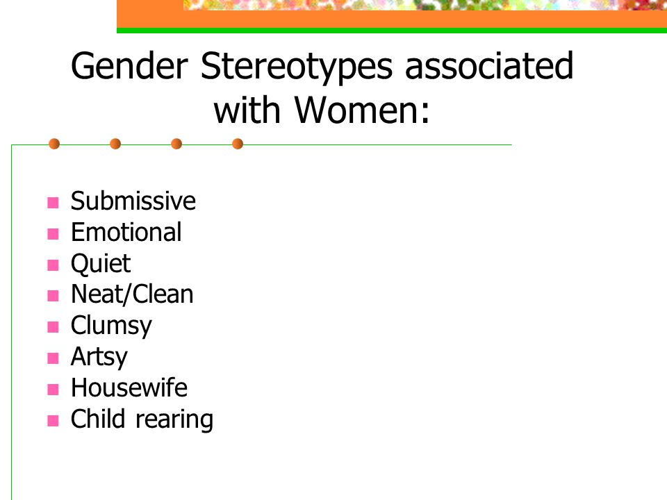 Gender Stereotypes associated with Women: