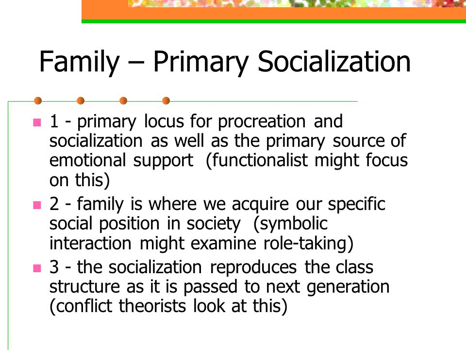 Family – Primary Socialization