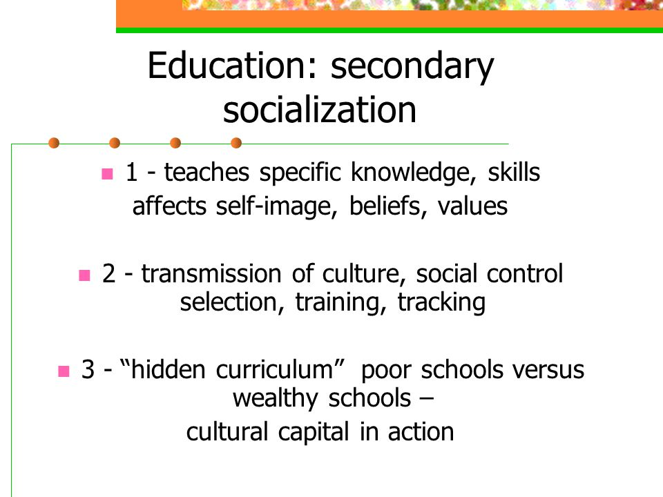 Education: secondary socialization