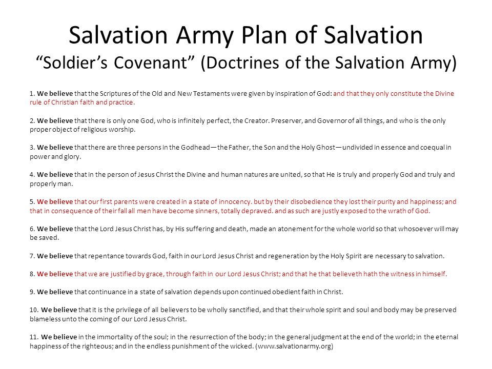 Salvation Army Plan of Salvation Soldier's Covenant (Doctrines of the Salvation Army)