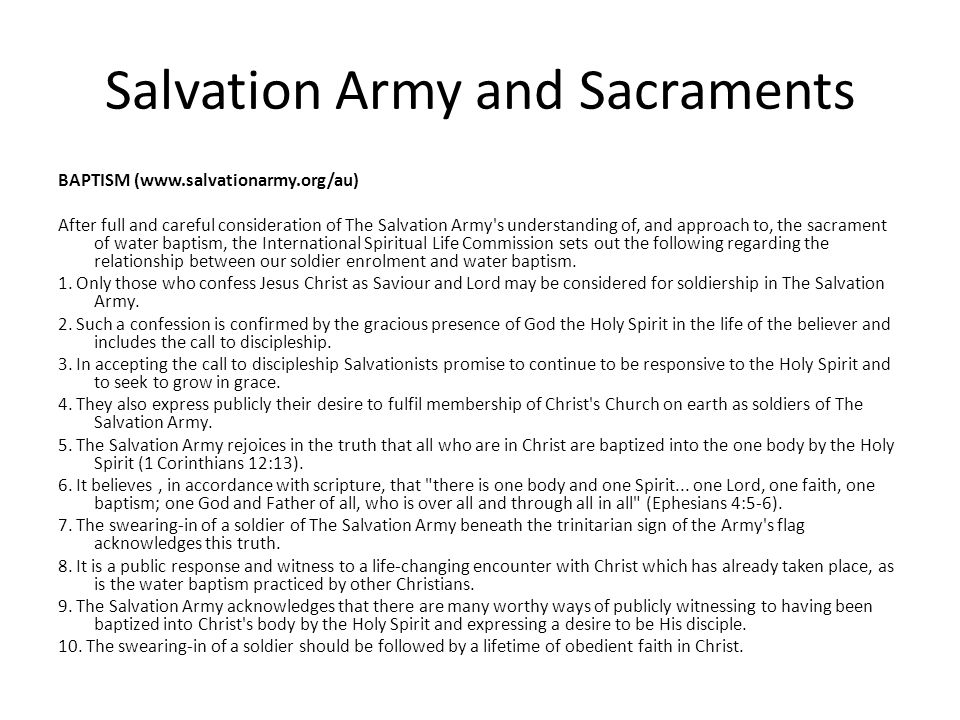 Salvation Army and Sacraments