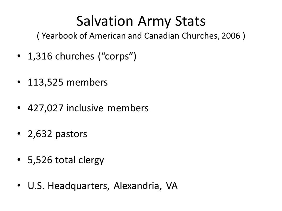 Salvation Army Stats ( Yearbook of American and Canadian Churches, 2006 )