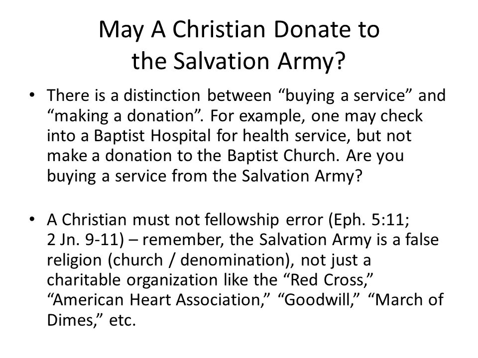 May A Christian Donate to the Salvation Army