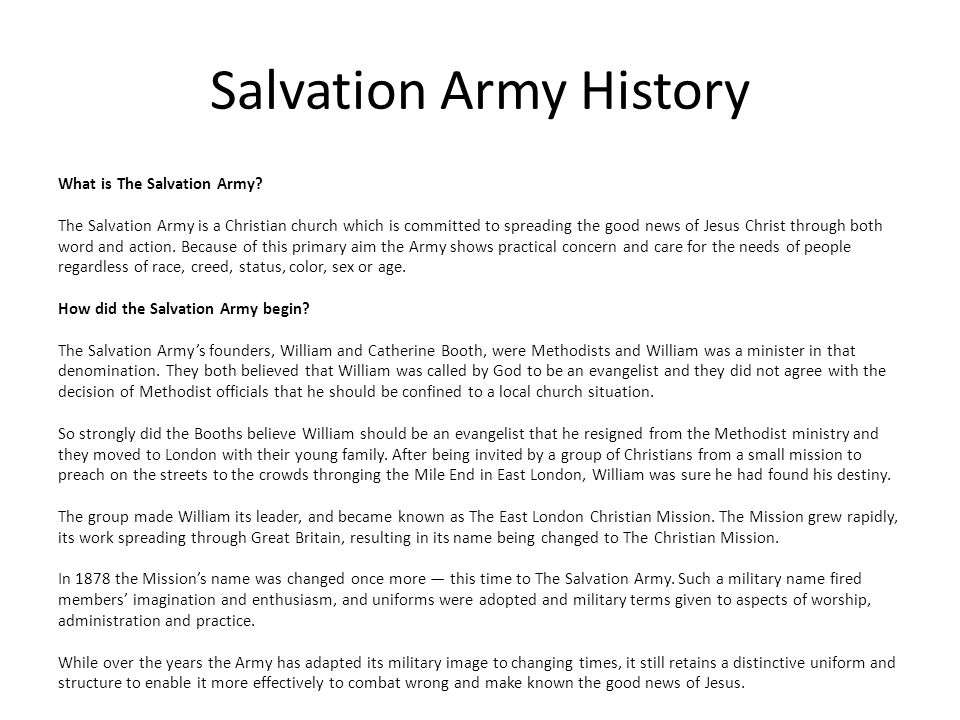 Salvation Army History
