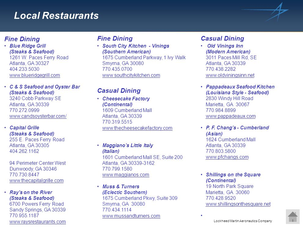 Local Restaurants Fine Dining Fine Dining Casual Dining Casual Dining
