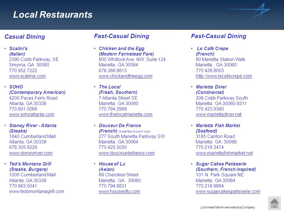 Local Restaurants Casual Dining Fast-Casual Dining Fast-Casual Dining