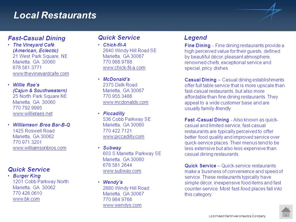 Local Restaurants Fast-Casual Dining Quick Service Legend