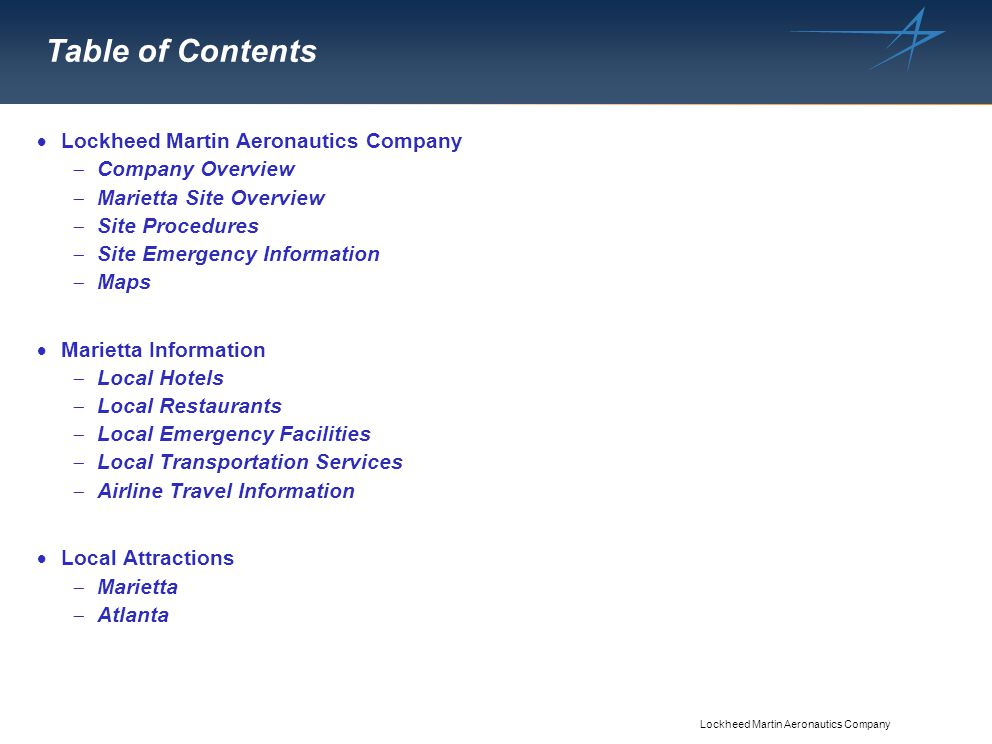 Table of Contents Lockheed Martin Aeronautics Company Company Overview