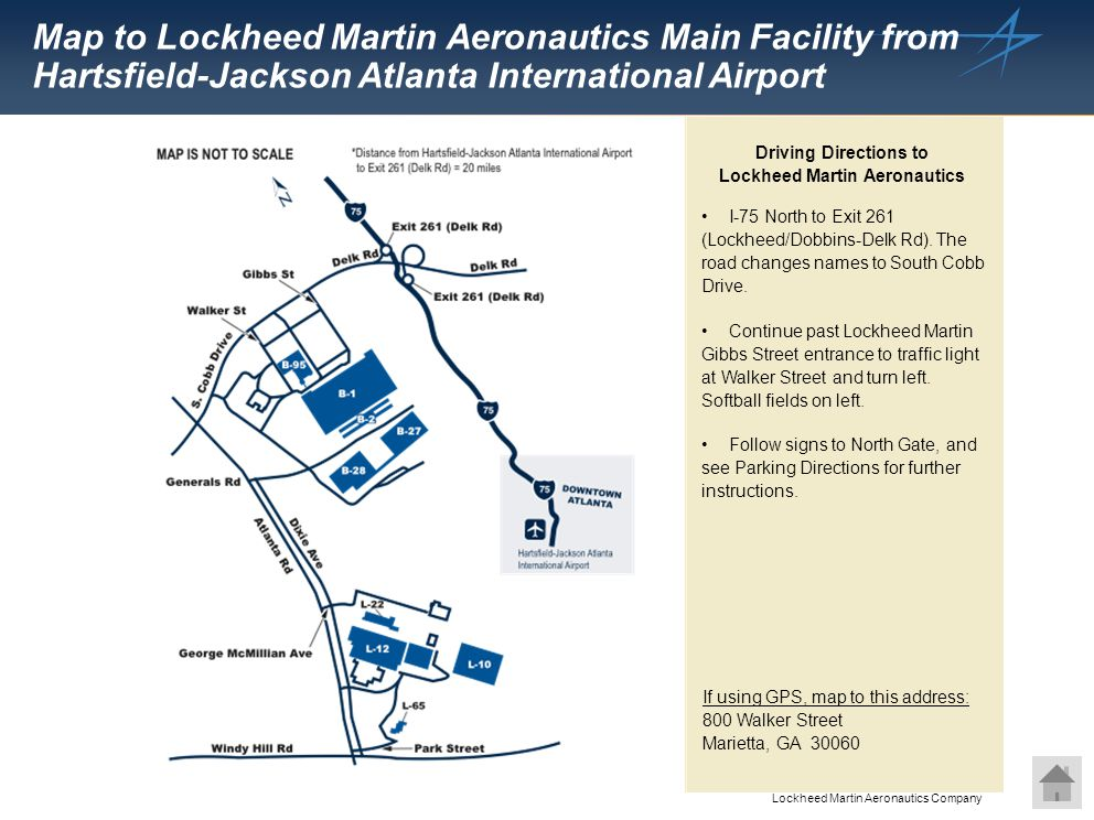 Driving Directions to Lockheed Martin Aeronautics