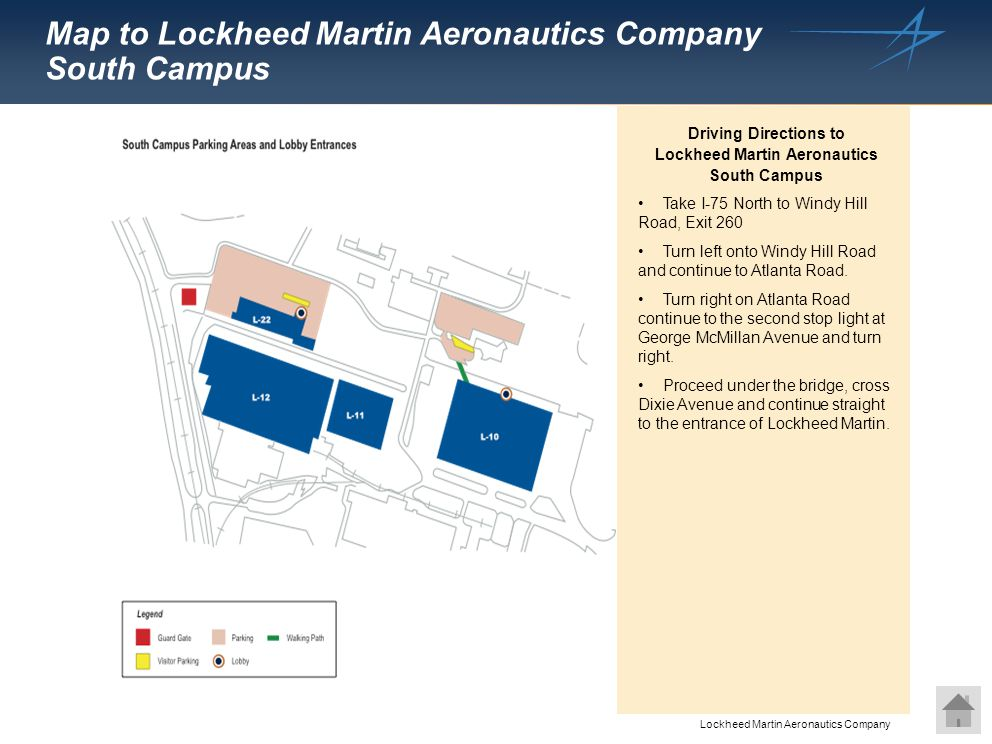Map to Lockheed Martin Aeronautics Company South Campus