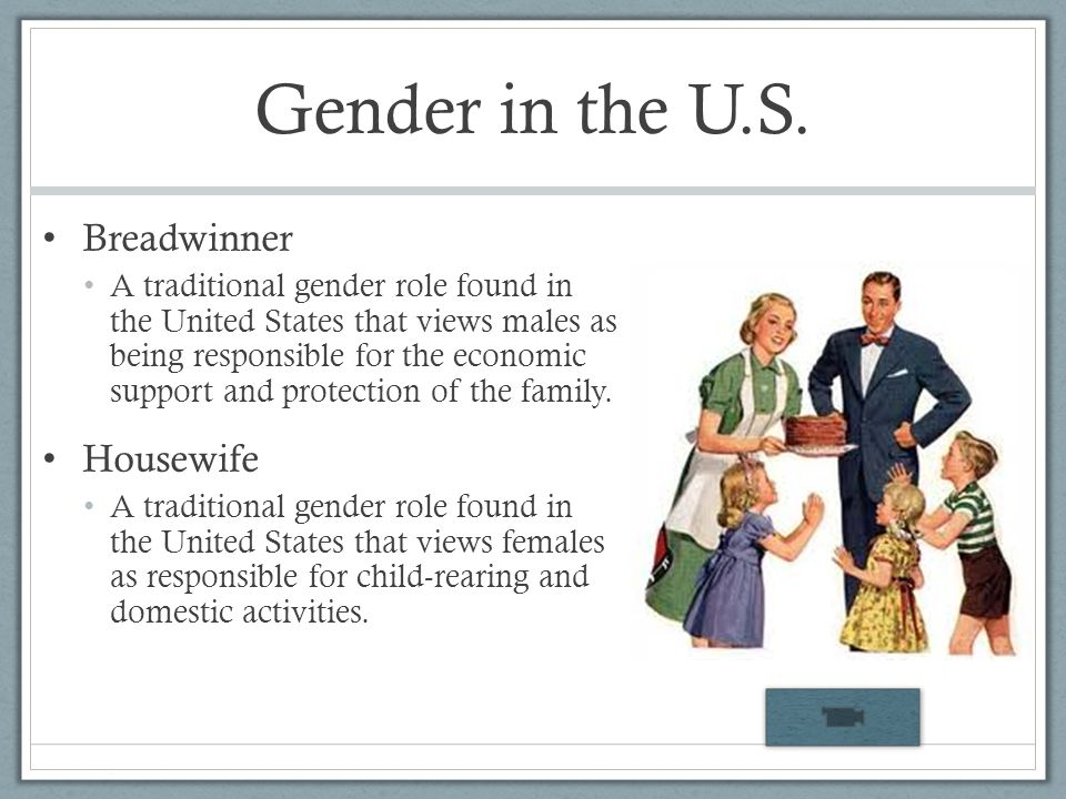 Gender in the U.S. Breadwinner Housewife