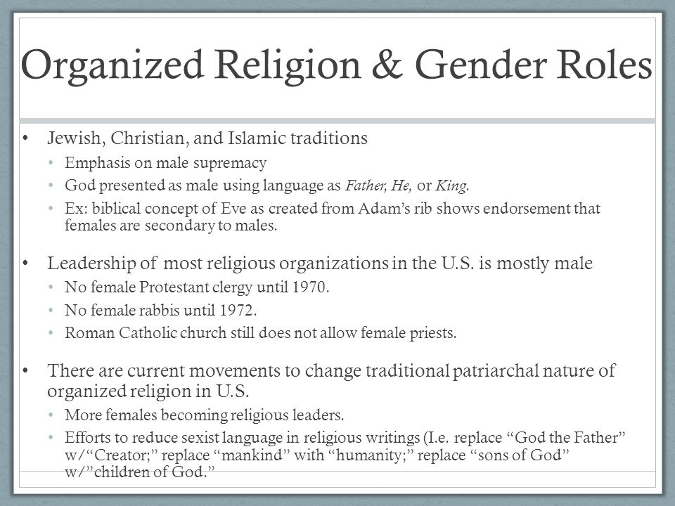 Organized Religion & Gender Roles