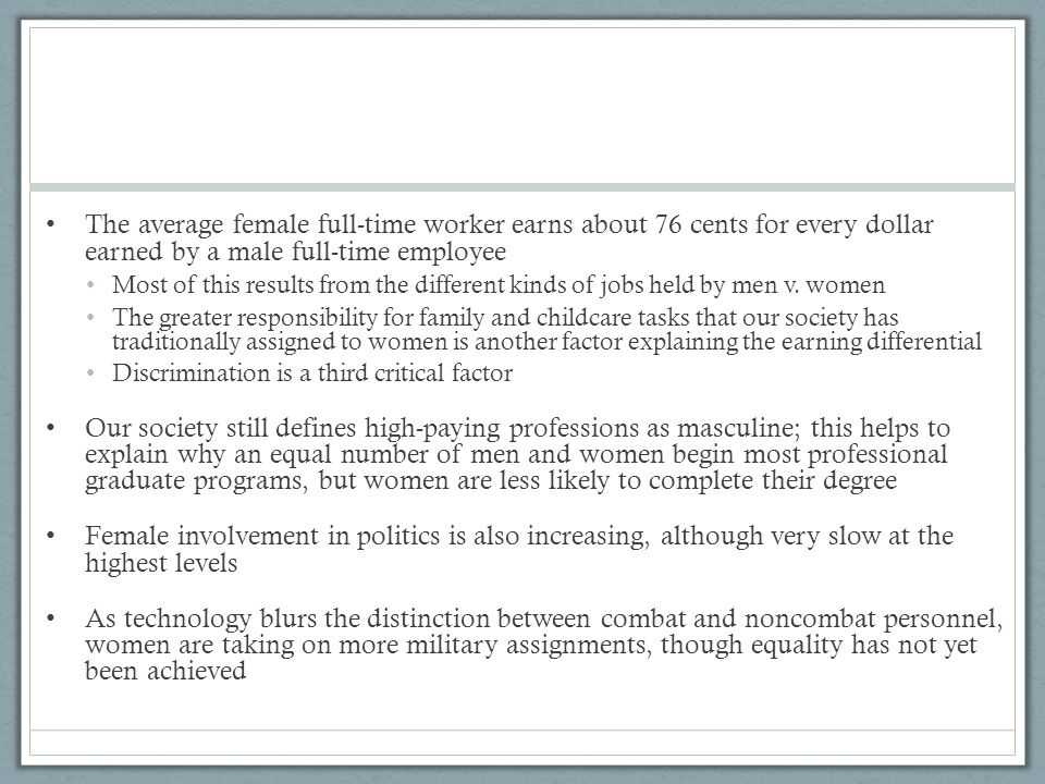 The average female full-time worker earns about 76 cents for every dollar earned by a male full-time employee