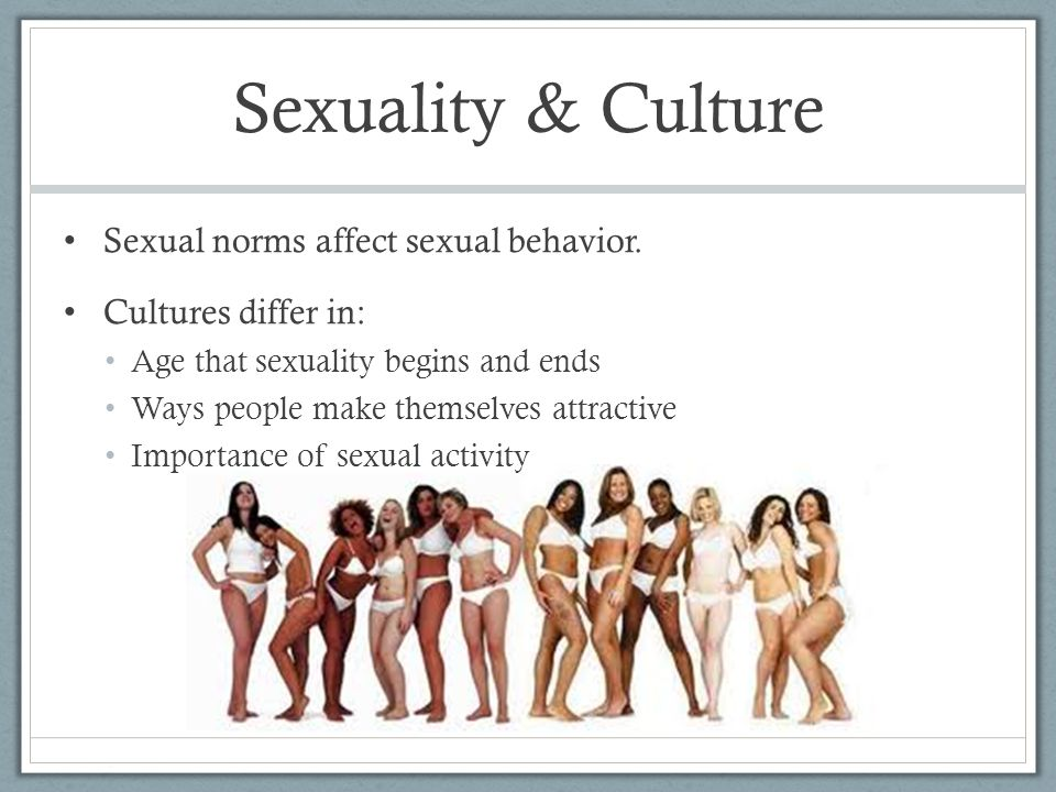 Sexuality & Culture Sexual norms affect sexual behavior.