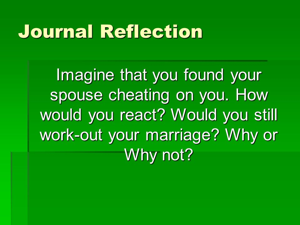 Journal Reflection Imagine that you found your spouse cheating on you.