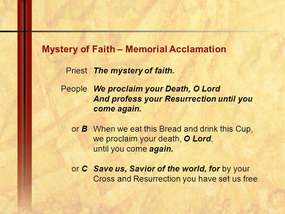 Mystery of Faith – Memorial Acclamation