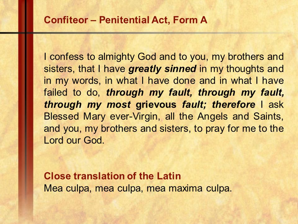Confiteor – Penitential Act, Form A
