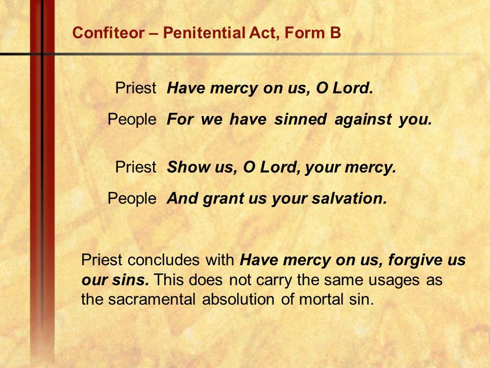 Confiteor – Penitential Act, Form B