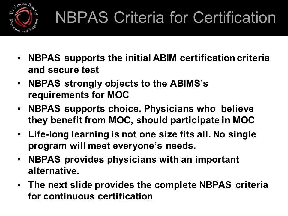 NBPAS Criteria for Certification