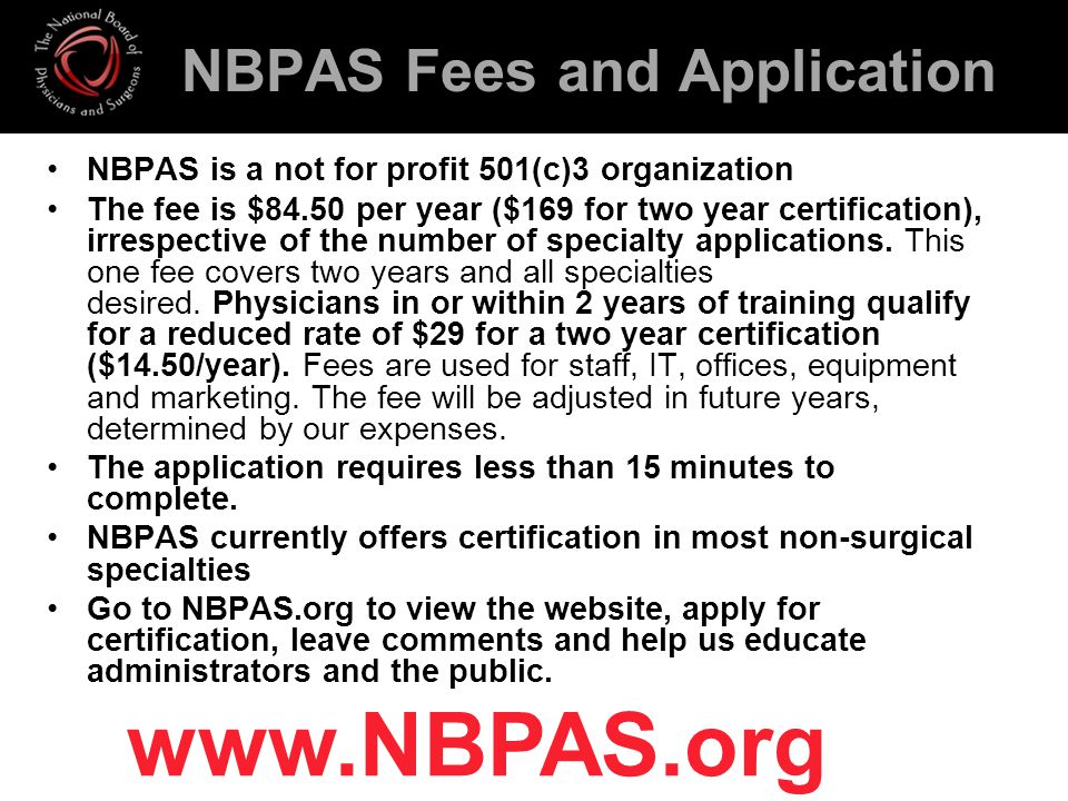 NBPAS Fees and Application