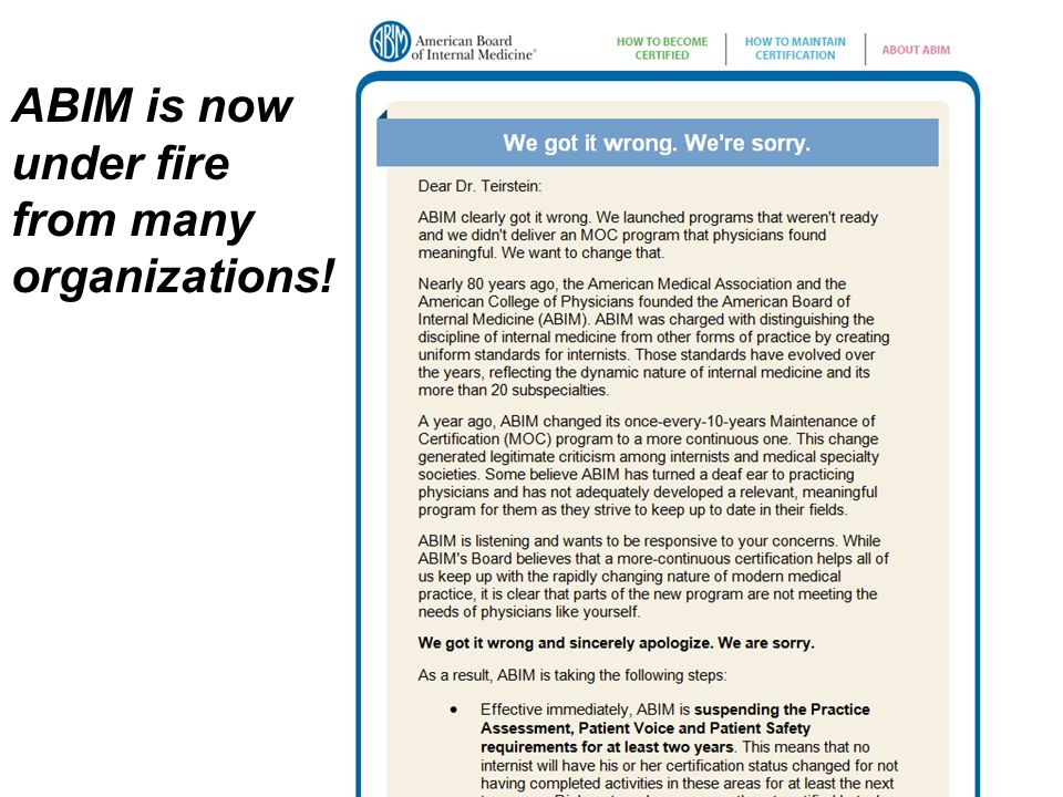 ABIM is now under fire from many organizations!