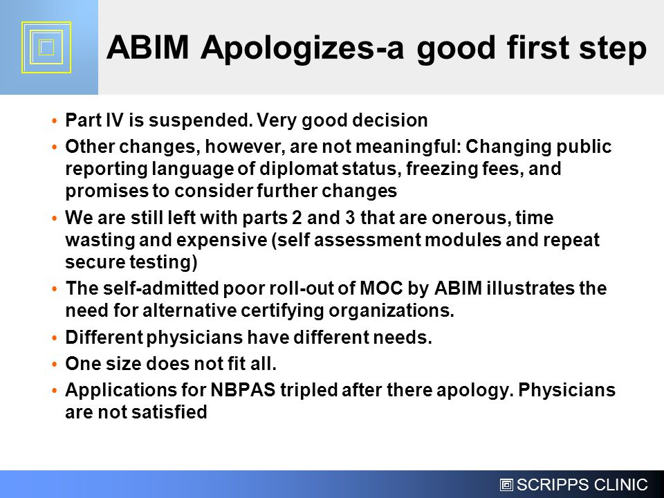 ABIM Apologizes-a good first step