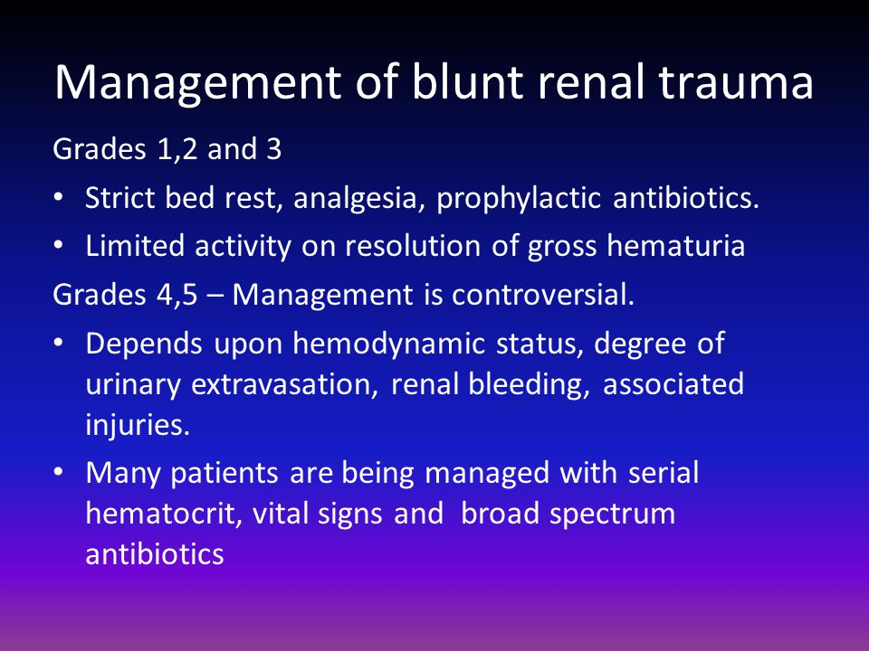 Management of blunt renal trauma