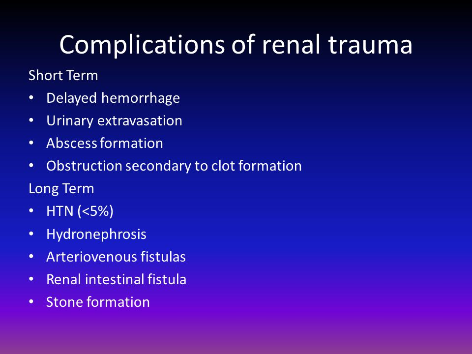 Complications of renal trauma