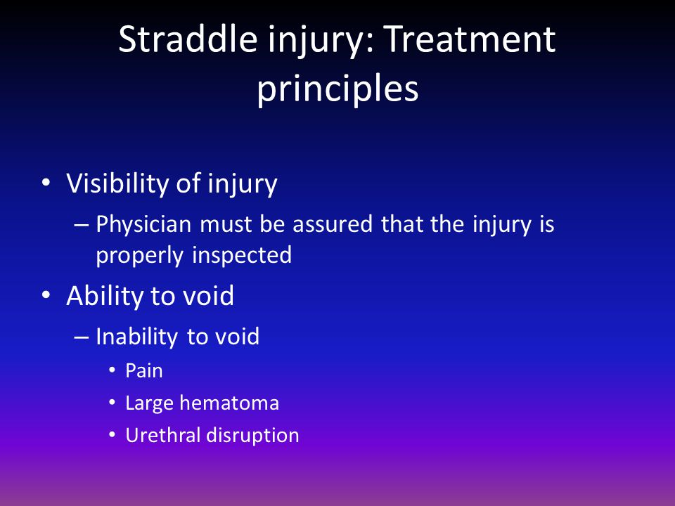 Straddle injury: Treatment principles