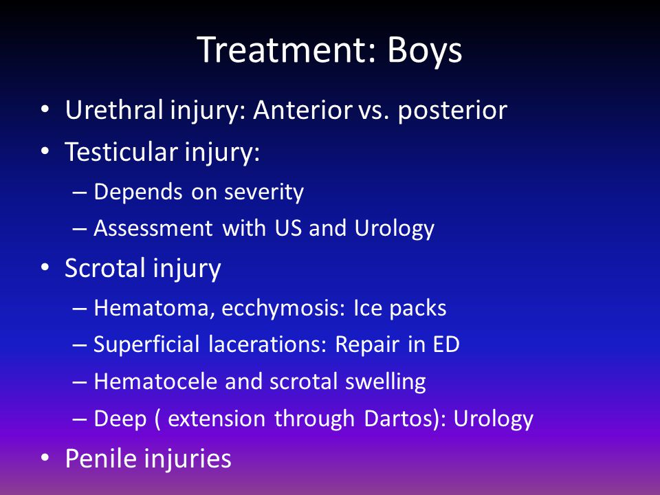 Treatment: Boys Urethral injury: Anterior vs. posterior