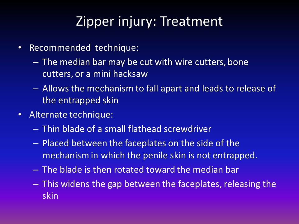 Zipper injury: Treatment