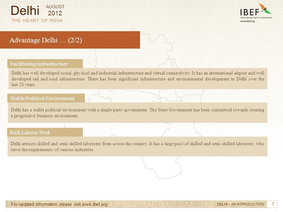 Delhi Advantage Delhi … (2/2) 2012 Facilitating Infrastructure