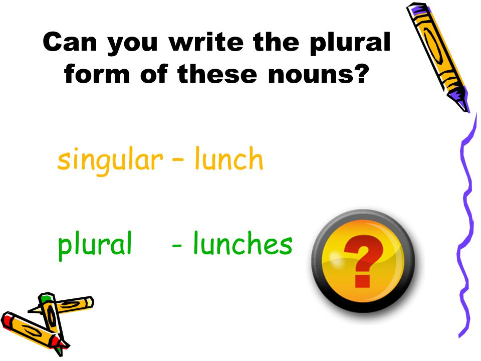 Can you write the plural form of these nouns