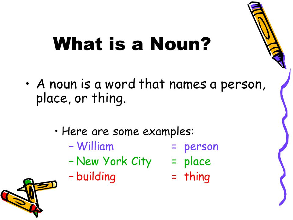 What is a Noun A noun is a word that names a person, place, or thing.