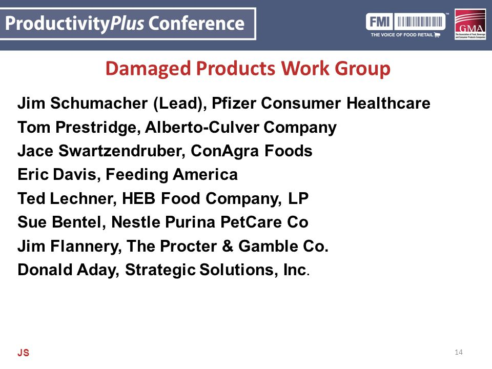 Damaged Products Work Group