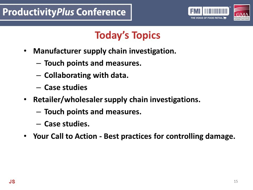 Today's Topics Manufacturer supply chain investigation.