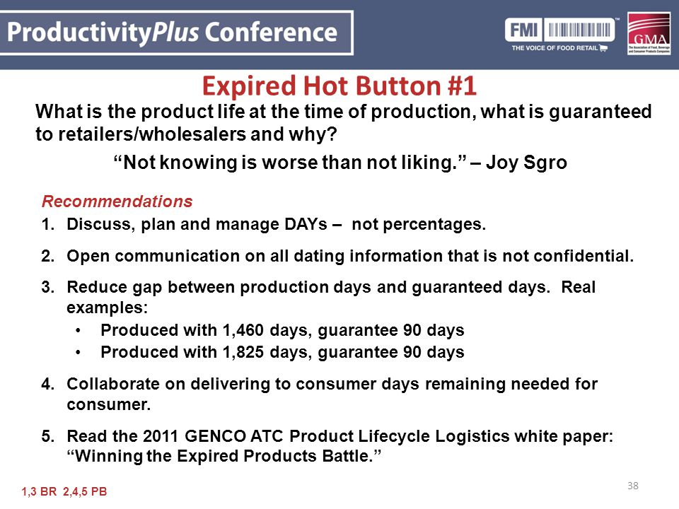 Expired Hot Button #1 What is the product life at the time of production, what is guaranteed to retailers/wholesalers and why