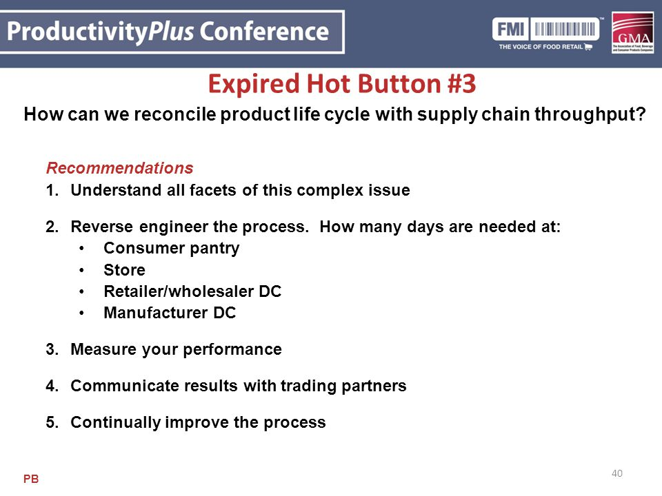 Expired Hot Button #3 How can we reconcile product life cycle with supply chain throughput Recommendations.